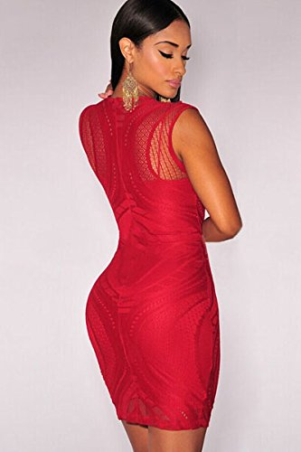 Amazon.com: SunShine Red Optical Lace Nude Illusion Sleeveless Bodycon Dress Red one size For Women: Clothing