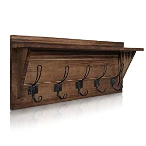Rustic Wall Mounted Coat Rack Shelf - Brown Wooden Country Style 24