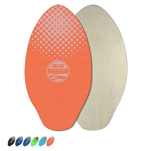 BPS 'Gator' 40 Inch Skim Board - Epoxy Coated Wood Skimboard with EVA Pads - No Need for Wax - Skimboard for Beginner to Advanced - Large Skimboard (Orange with White Accent)