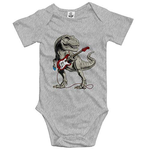 DH-MS Dress Dinosaur Playing Guitar Infant Short-Sleeve Onesies Baby Boys Girls Gray