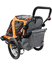 HJTLK Children Bike Trailer 2in1 Kids Jogger Stroller with Suspension 360° rotatable Childs Bicycle Trailer Transport Buggy Carrier for 2 Kids - in orange - Black Frame