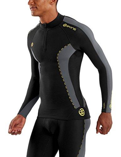 Skins Mens DNAmic Men's Thermal Compression Long Sleeve Mock Neck with Zip Top, Black/Pewter, Large by Skins (Image #3)