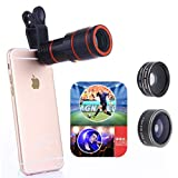 GSPOR 12X Phone Telephoto Telescope Set 4 In1 Universal Macro Lens Wide Angle Lens Fisheye Lens for Concert Travel Photograph