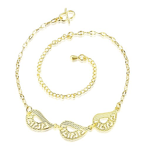 (Women's Pretty 930 Sterling Silver Plated Adjustable Ankle Bracelet Filigree Leaf Charms CZ Crystal Chain Anklets Gold Tone)