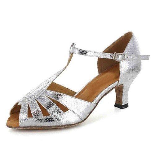 Heel Customized Q Brown Leatherette Shoes Dance T Women's Brown T pZA0qn