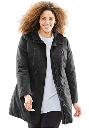 Women's Plus Size All-Weather Hooded Jacket Black,22/24