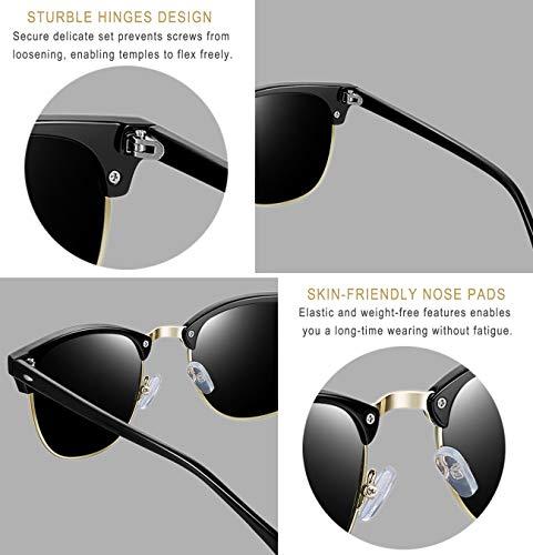 b52a3923b25 Joopin Semi Rimless Polarized Sunglasses Women Men Retro Brand Sun Glasses  (Brilliant Black Frame Grey