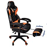 Office Racing Video Gaming Chair PU Leather High Back Adjustable Ergonomic Swivel Recliner Computer Chair Footrest Casters Cushion Lumbar Support (Black+Orange) PULUOMIS