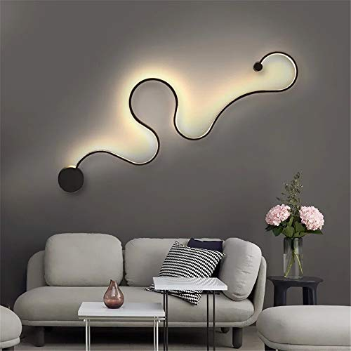 """BAYCHEER Aluminum Snake Shaped Wall Lamp Creative Wall Sconce Contemporary Special Home Decoration 50.40"""" Minimalist Wall Light for Living Room, Bedroom, Kitchen 24W in Black Warm Light from BAYCHEER"""