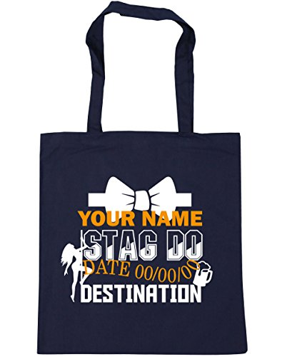Beach x38cm litres Tote French 42cm Stag Navy 10 Event Gym Bag Shopping Personalised Do HippoWarehouse 71T0qn