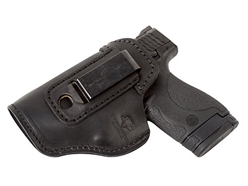 The Defender Leather IWB Holster - Made in USA - For S&W M&P Shield - GLOCK 17 19 22 23 32 33 / Springfield XD & XDS / Plus All Similar Sized Handguns - Black - Left Handed