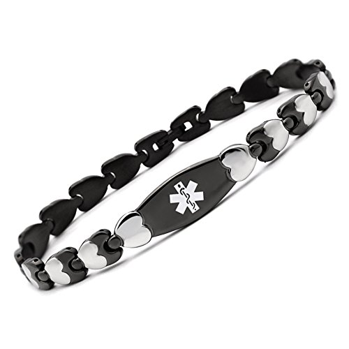 Fashion Black Double Heart Medical Alert id Bracelet for Women-(6.5) ()