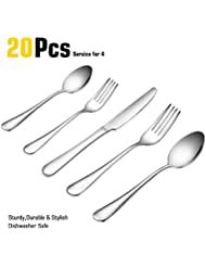 20 Piece Fine Flatware Set, Stainless Steel Mirror Polished Cutlery Sets with Dinner Knives, Forks and Spoons for Dessert & Dinner, Umite Chef Modern Eating Utensils Silverware Tableware Service for 4