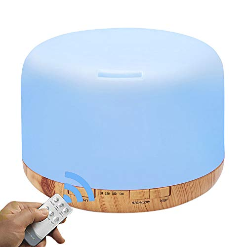 COSSCCI Aromatherapy Essential Oil Diffuser Humidifier, 500ML Ultrasonic Cool Air Mist Humidifier with Auto Shut-Off, Timers Setting for Baby Bedroom Home Office (Yellow)