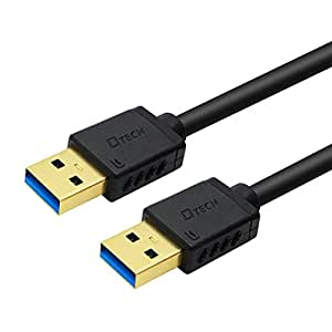 DTECH USB 3.0 Type A Cable 2m Male to Male High Speed Data Cord in Black 6ft