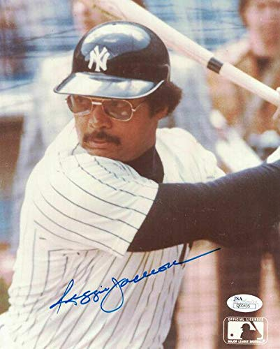 Signed Reggie Jackson Picture - 11778 8x10 batting Close Up - JSA Certified - Autographed MLB Photos