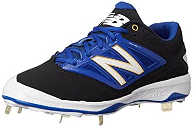 New Balance Men's L4040V3 Cleat Baseball Shoe, Black/Blue, 14 D US