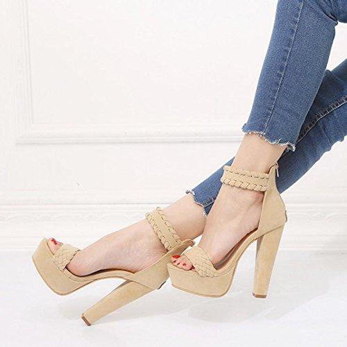 hunpta Women Ladies Sandals Waterproof Super High Heels Party Ankle Square Heel Shoes Beige HRPkd5n0