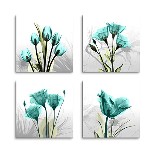 Flower Paintings Contemporary - Wall Decorations for Living Room Canvas Art Bathroom Decor - 4 Panels Elegant Tulip Flower Contemporary Painting Pictures Canvas Print Framed Wall Art for Office Bedroom Decor and Home Decorations