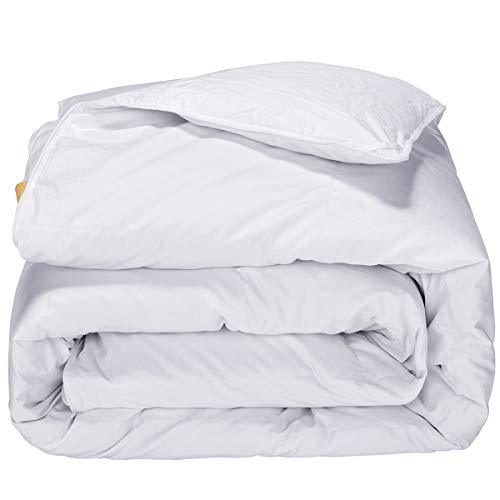 PUREDOWN  Lightweight Comforter, Goose Down, Quilted Duvet Insert, 100% Cotton Fabric, White, King