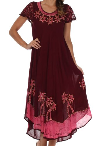 Sakkas A009 Batik Palm Tree Cap Sleeve Caftan Dress/Cover Up - Brown/Pink - One Size ()