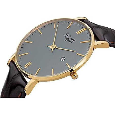 Elysee ZELOS Reloj DE Hombre Cuarzo 40MM Correa DE Cuero Color MARRÓN 98002: Amazon.es: Relojes