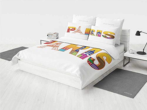 KaithLong Paris Lace Bedding Set Paris France Skyline with Cultural Icons Historical City Features Art Illustration Printing Four Pieces of Bedding Set Multicolor -