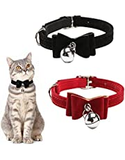 """ASOCEA 2 Pack Cat Collar with Bow Tie Pet Dog Bowtie Collar with Bell Breakaway Puppy Kitty Safety Collars for Small Dogs and Cats Neck 8""""-11"""" (Black & Red)"""