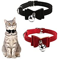 ASOCEA 2 Pack Cat Collar with Bow Tie Pet Dog Bowtie Collar with Bell Breakaway Puppy Kitty Safety Collars for Small…