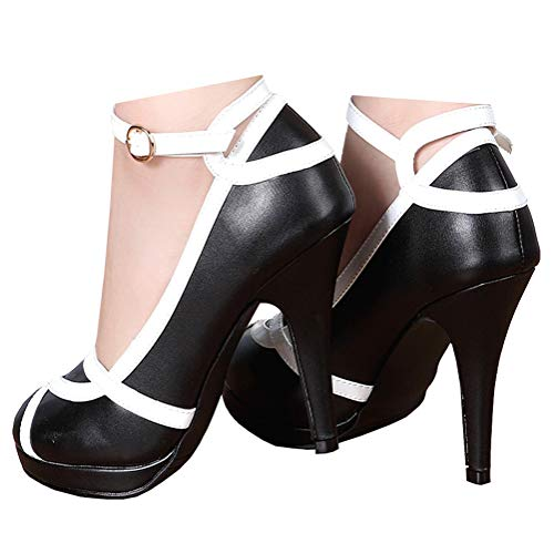getmorebeauty Women's Vintage Retro Two Tones Black and White Buckle Dress High Heels 6 B(M) US