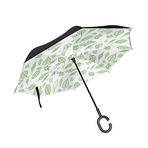 Shaped Cfl (Reverse Umbrella Leaf Pattern Windproof Double Layer Inverted Umbrella Anti-UV Protection with C-Shaped Handle for Car Outdoor Use)