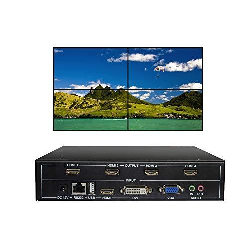 ESZYM 4 Channel Video Wall Controller 2x2 HDMI DVI VGA USB Video Processor with RS232 Control for 4 TV Splicing