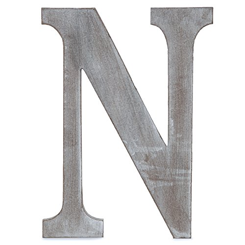 The Lucky Clover Trading N Wood Block Letter,24'' L, Charcoal Grey by The Lucky Clover Trading