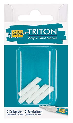 Solo Goya Triton Acrylic Paint Marker Replacement Nibs Set 1.4 for Accent and Signing 2 Chisel Tips Line Width Approx. 1-4 mm 2 Bullet Tips Line Width Approx. 2-4 mm