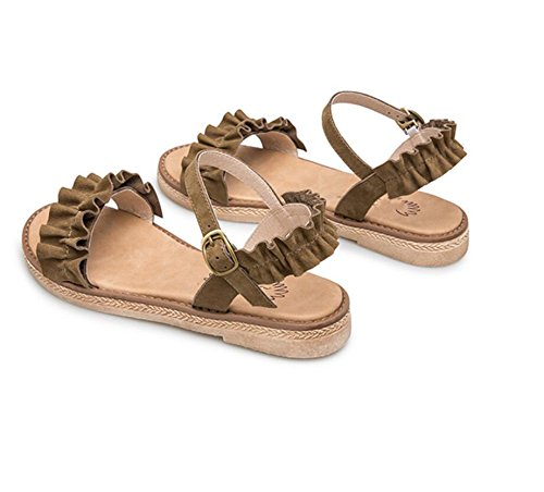 GRRONG Femmes Pantoufles pour l'été New Vintage Sandales Romaines Open Toe Chaussures Plates Occasionnels d7fJAXfj9
