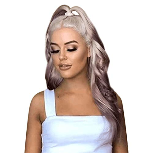 Baulody Blonde Purple 2 Tone Cosplay Wigs Long Curly Hair Big Wave Natural Hair Heat Resistant Curly Wave Hairs for Women 25.5 inches (Purple) ()