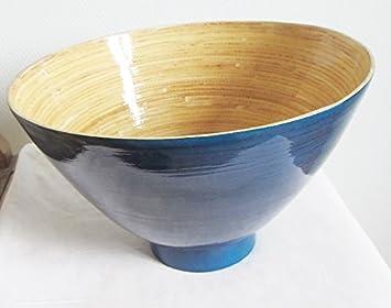 Bambus Schussel D29 5cm Blau Mit Salatbesteck Schale Dekoschale Obst