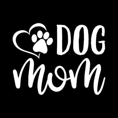Dog Mom Paw Heart Vinyl Decal Sticker | Cars Trucks Vans SUVs Walls Cups Laptops | 5 Inch | White | KCD2628: Automotive