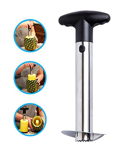 Stainless Steel Pineapple Corer Cutter Slicer Wedger Dicer Peeler Fruit Tool - cut pineapple quick and easy without a knife - includes One Year Warranty and a free pineapple recipe (Wedger Corer)