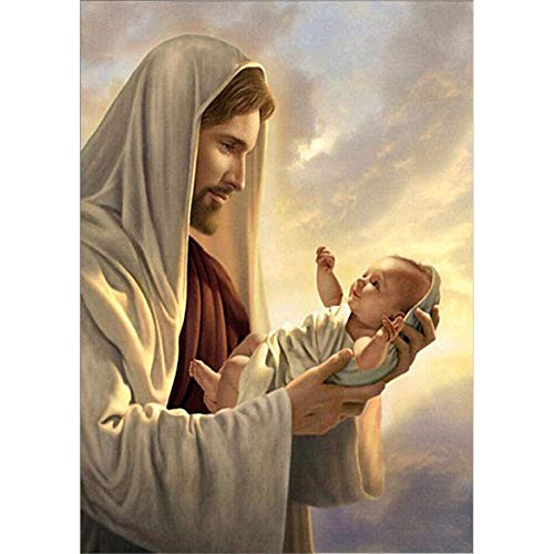Jesus with Baby Full Drill Diamond Painting by Number Kits, 5D DIY Diamond Embroidery Crystal Rhinestone Cross Stitch Mosaic Paintings Arts Craft for Home Wall Decor(12X16inch/30X40CM)