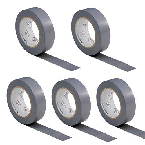 5 Rollen VDE Isolierband Isoband Elektriker Klebeband PVC 15mm x 10m DIN EN 60454-3-1 Farbe: grau