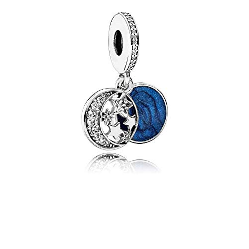 Moon & Blue Sky Dangle Charm Sterling Silver Charms 791993CZ