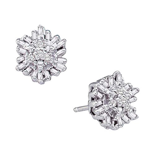 14k White Gold Round Baguette Diamond Cluster Stud Earrings (1/10 Cttw) ()
