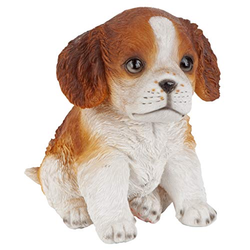 Design Toscano JQ112069 Red & White Cavalier King Charles Puppy Partner Collectible Dog Statue, Full Color ()
