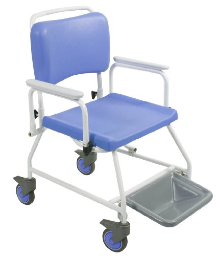 Homecraft Atlantic Bariatric Commode Shower Chair, 510 mm with Footrests, Wheeled Bathroom Chair for Elderly, Disabled, Handicapped, Bathroom Aid for Mobility and Convenience, Hygenic and Durable from Patterson Medical