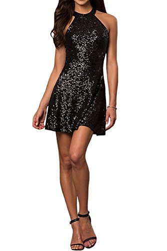 DressyMe Women's Mini Party Dresses Cocktail Gown Halter Sleeveless Sequins-16-Black