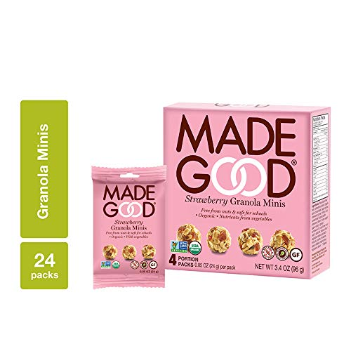 MadeGood Strawberry Granola Minis, 6 Boxes (24 count); Granola Clusters Made with Crunchy Oats and Juicy Strawberries; Convenient, Individually-Wrapped Portions; Allergy-Friendly Snack
