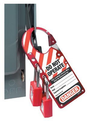 MASTER LOCK - 7''X2-7/8'' LABELLED SAFETY LOCKOUT HASP RED - 470-427