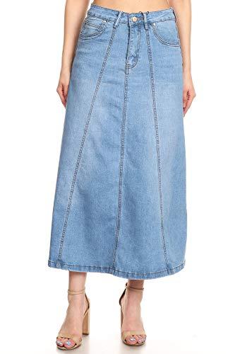 Women's Juniors Mid Rise A-Line Long Jeans Maxi Denim 8-Gore Skirt in Light Blue Size XL