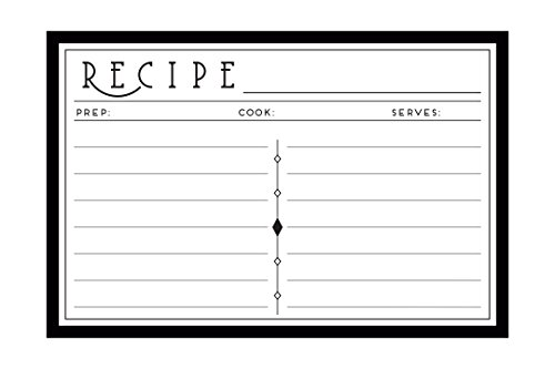 Art Deco 4x6 Recipe Cards: Double Sided 48 Recipe Card Set: Premium Weight Acid Free: Made In America by Pacific Home
